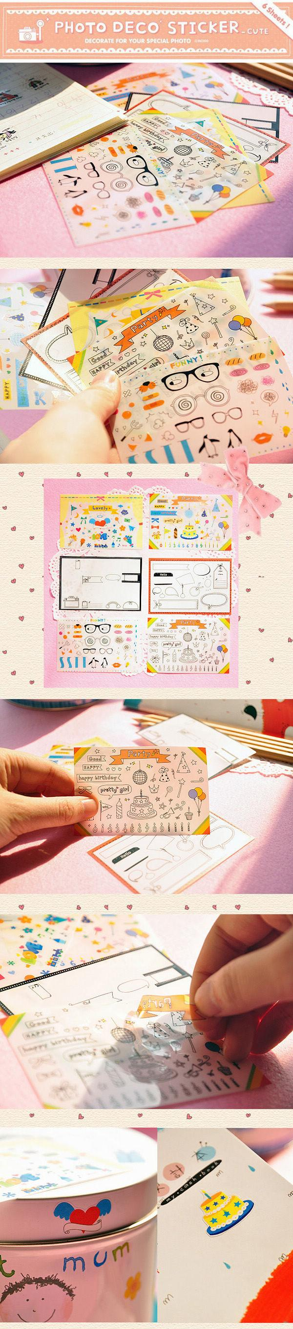 6 pcs Party Themes Stickers Photo Deco Stickers